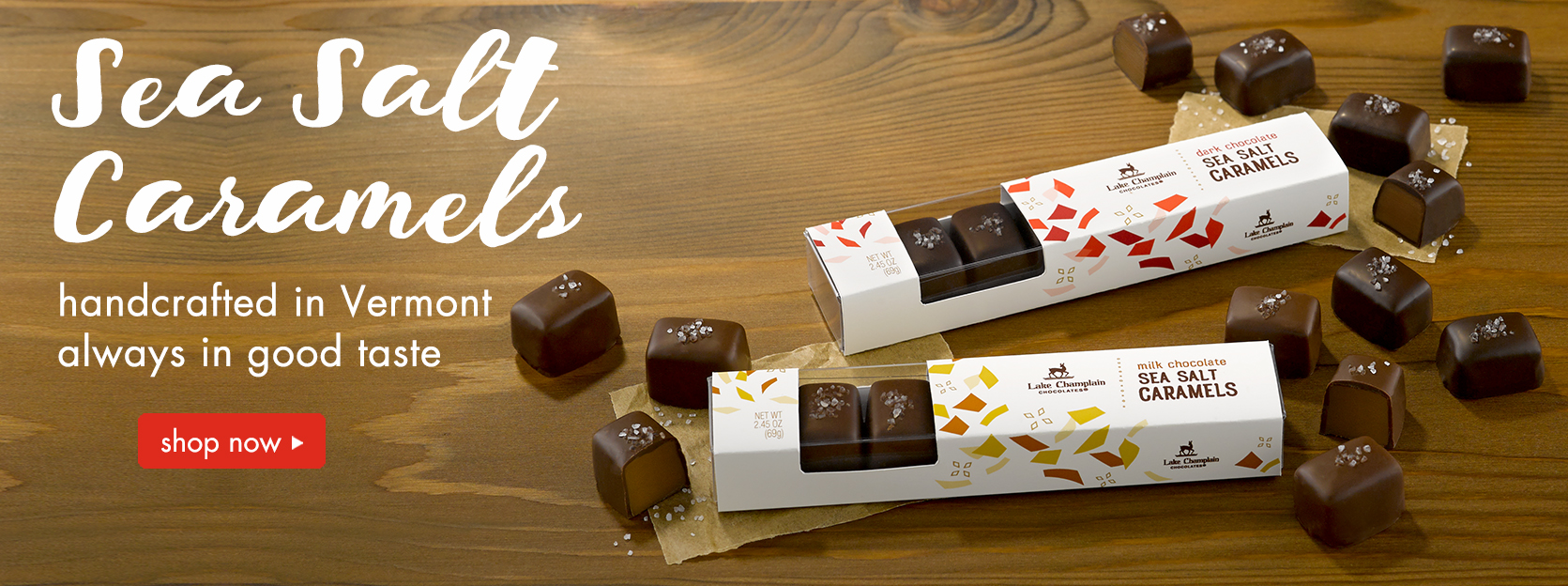 Irresistibly delicious, handcrafted sea salt caramels make a perfect gift for any occasion.