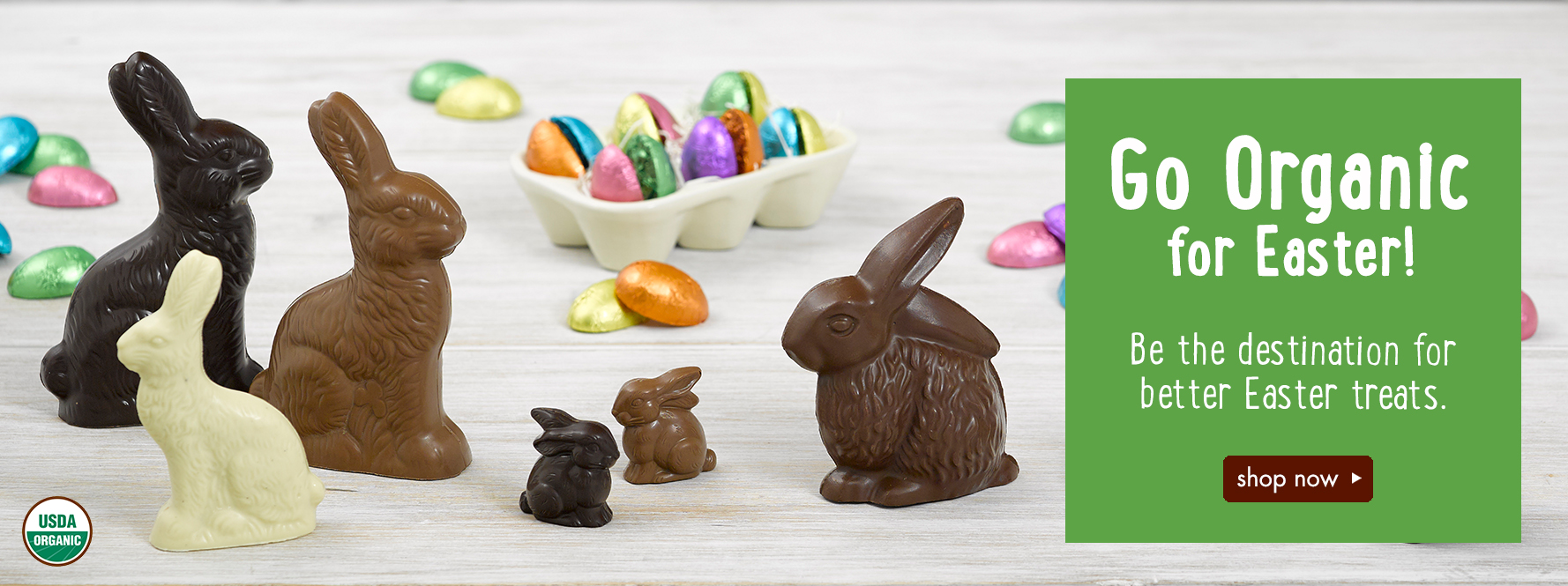 Organic Wholesale Easter Chocolates: chocolate bunnies, carrots, eggs, and more!