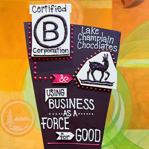 Chocolate B Corporation sculpture